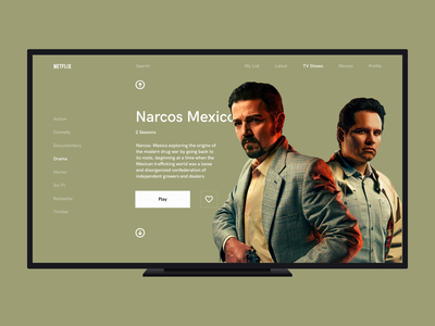 Minimalist TV App hbogo dailyuichallenge desktop web minimalist navigation movie film detail browse narcos netflix stream tv dailyui 025 dailyui flat clean ux ui