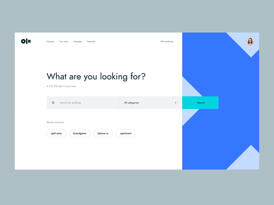 OLX Redesign Concept minimalist blue bright category dropdown redesign webshop ecommerce marketplace selling olx search dailyui 027 dailyui app web flat clean ux ui