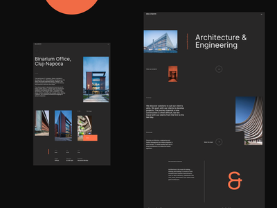 Architecture Website Concept desktop whitespace dark black orange engineering cluj premium elegant minimalist building architecture presentation page landing page webdesign web flat clean ux ui