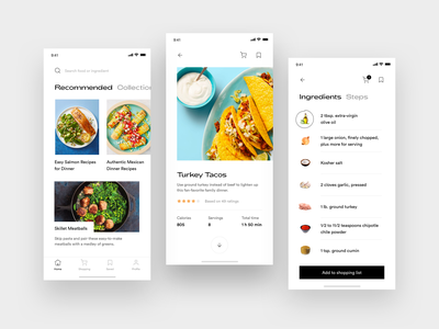 Cooking App Concept home shopping preparation recipe book premium food kitchen cooking minimal ingredients recipe elegant white app mobile flat ios clean ux ui