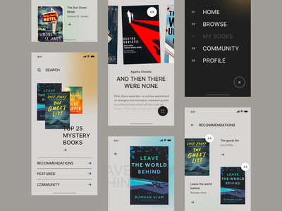 Book Recommendation App Concept bookhub recommendations menu imdb datadabase recommendation reader book goodreads bold gray elegant iphone app mobile flat ios clean ux ui