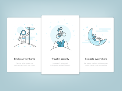Onboarding Illustrations ios app personal safety flat outline ux ui ftux illustration onboarding placeholder