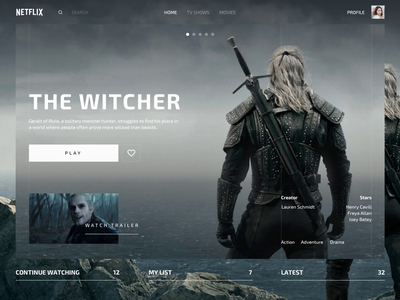 Netflix Redesign Concept witcher online hbo dark navigation slide redesign transition animation featured tv show tv netflix streaming movie desktop web ipad ux ui