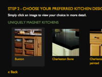Kitchen selection screen