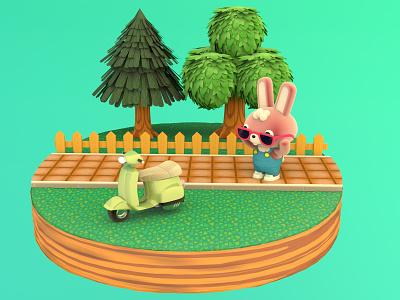ACNH inspired rabbit & scooter 3dmodeling illustration acnh octanerender c4d cartoon character