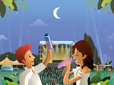 French music festivals go green festival night print magazine illustration astute graphics illustrator