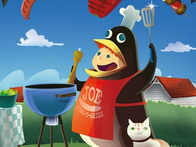 Barbecue time childrens illustration bbq vector print magazine kids illustration illustrator astute graphics illustration cartoon character