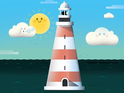 Sunny Lighthouse magazine childrens illustration kids illustration cartoon character illustrator astute graphics illustration