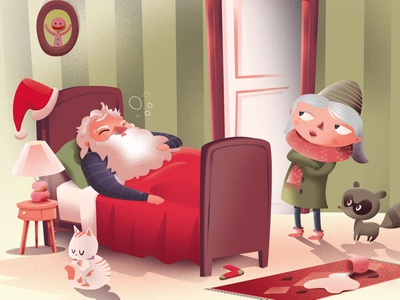 Sick Santa vector childrens illustration print kids illustration cartoon character illustrator astute graphics illustration