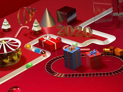 Happy New Year 2020 octanerender 3d illustration c4d