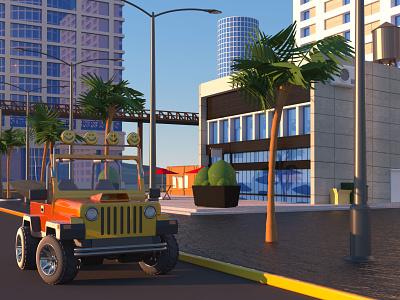 Parked Jeep in Santa Monica illustration 3d octanerender c4d