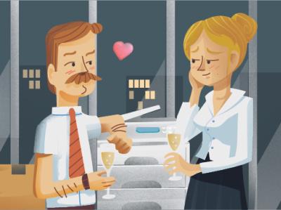 Love @ work illustrator vector print cartoon character astute graphics illustration