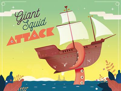 Giant Squid Attack Illustration illustration cartoon character vector astute graphics illustrator
