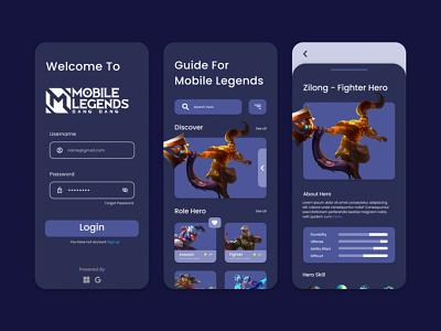 Game Guide App - UI Design (Dark Mode) ui design dark mode game guide mobile app