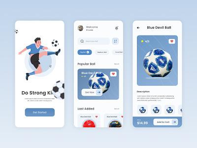 Ball Store App - UI Design captain gawang creative men man goal soccer foot football clean modern app mobile app ui ux ui design blue ball store app design ball ui