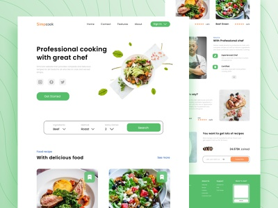 Recipe Food - Web Design clean dishes mie vegetables delicious ingredients meat beef kitchen cook cooking recipe app chef green web design recipe food web food design branding ui