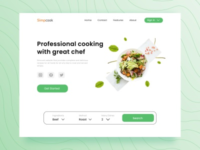 Recipe Food - Web Design ingredients delicious dishes recipe food landing page green meat beef kitchen cooking cook chef web design recipe food web clean uiux design ui branding