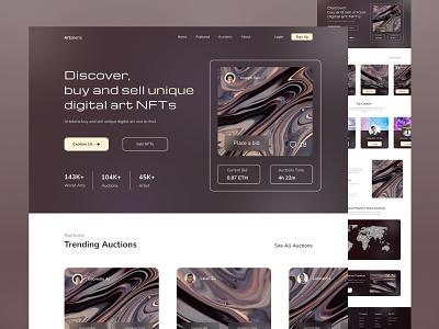 NFT Marketplace - Web Design auctions bid premium pro bitcoin eth buy sell trading elegant brown web design nft marketplace nft web design nfts nft clean design branding ui