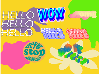 working with fonts color words fonts 3d 2d illustration design vector graphic design