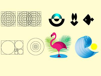 Logo golden ratio fountain hare fish wave flamingo branding logo 2d illustration design vector graphic design