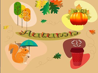 Autumn pumpkin leaves тыква листья осень autumn 2d illustration design vector graphic design