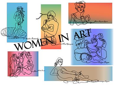 Art women oneline art illustration design vector graphic design