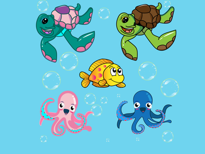 Under the sea octopus animation fish sea game 2d illustration design vector graphic design