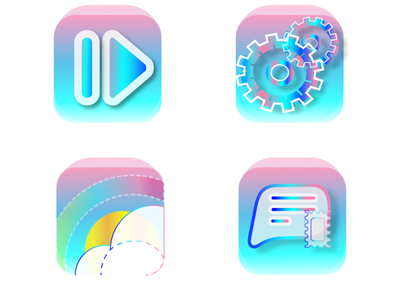 Icons message weather video settings ux ui phone gradient telephone icons 2d illustration design vector graphic design