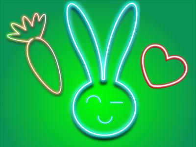 Rabbit rabbit neon logo 2d illustration design vector graphic design