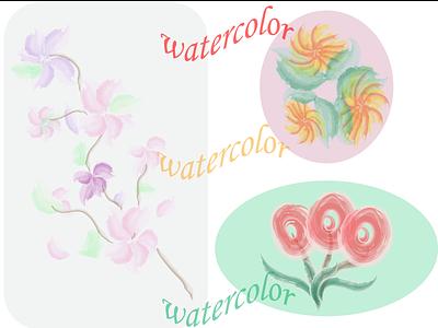 Watercolor Flowers pattern print watercolor flowers 2d illustration design vector graphic design