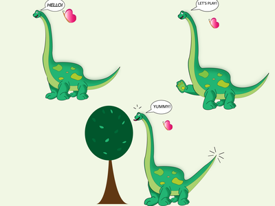 Dino dino character cartoon friend butterfly game 2d illustration design vector graphic design