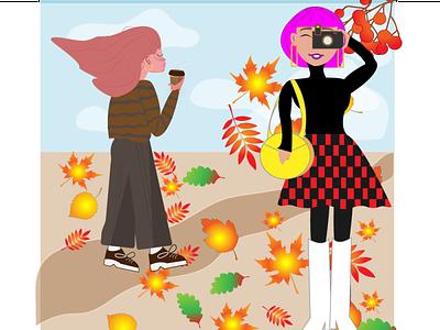 Autumn aesthetics girl autumn flat 2d illustration design vector graphic design