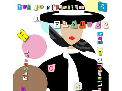 Fashion collage magazine girl fashion illustration design vector graphic design