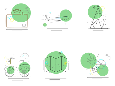 Icons lines travel icons flat 2d illustration design vector graphic design