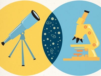 Venn microscope telescope venn diagram vector
