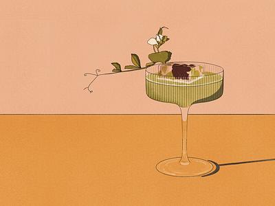 Cocktail typography design illustration