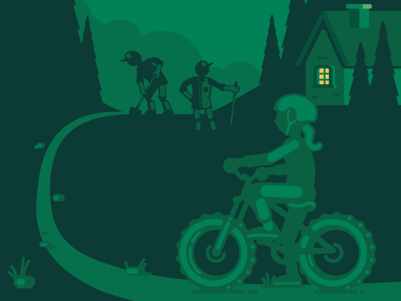 GROC campaign shovel builders singletrack bicycle bicyclist cyclist mountain biker trail park trees outdoors lodge cabin house mountain bike vector illustration