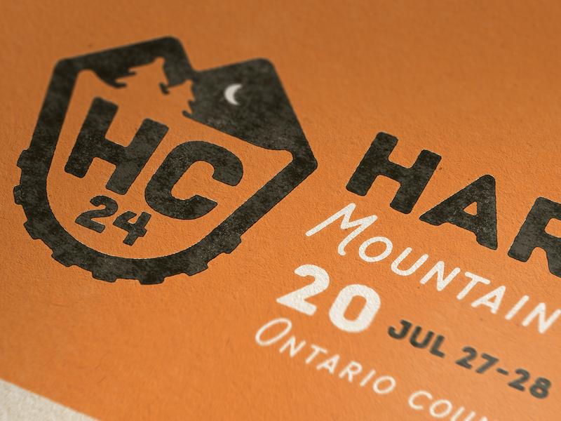 Hardcore 24 Race Poster shield badge mountains moon mountain bike illustration logo identity branding typography poster