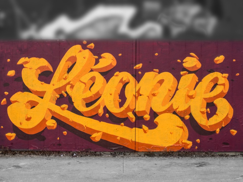 Léonie spraycan lettering typography typograffiti calligraffiti graffiti