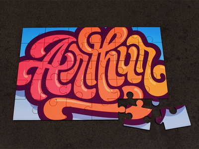 Puzzle lettering gift typography game puzzle lettering