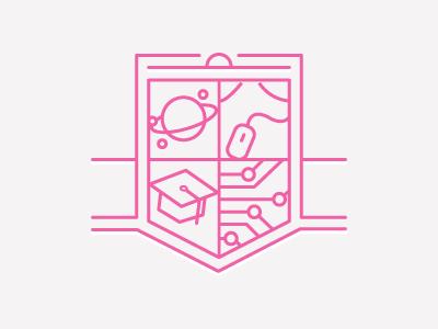 Secret Project badge shield illustration planet mouse graduation cap circuit board