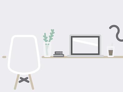 Workspace (Rebound) desk desktop workspace computer cat coffee books plant chair eames
