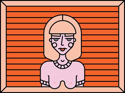 self portrait frame woman girl line work illustration character