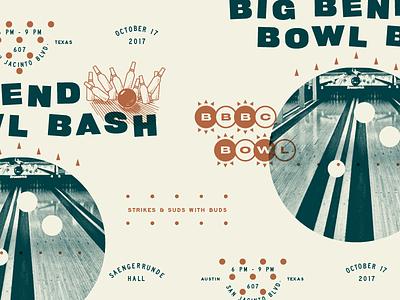 Big Bend Bowl Bash Invite vintage branding illustration retro bowling lockup typography