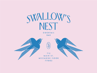 Swallow's Nest texas monogram mark houston art deco bird swallow bar branding