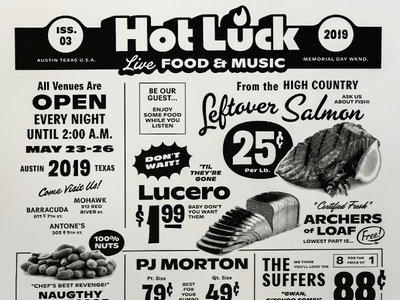 Hot Luck Music Lineup Poster numerals custom lettering french paper one color screenprint type ad grocery store vintage typography poster