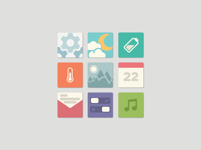 Flat App Icons weather battery temperature calendar toggle toggles music mail pictures mountains photoshop 2d settings flat ui icons basic simple app app icons