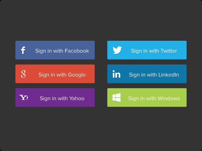 Social Sign In Buttons  social buttons social buttons signin sign in sign up linkedin google facebook fb twitter windows yahoo yahoo! free psd button