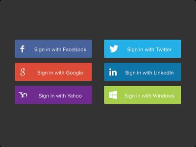 Social Sign In Buttons  social buttons social buttons signin sign in sign up linkedin google facebook fb twitter windows yahoo yahoo! free psd button