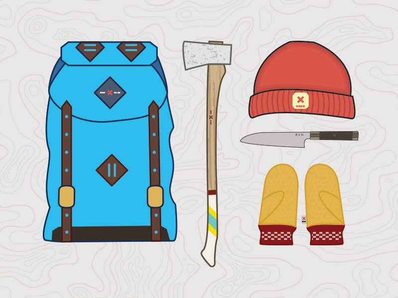 Best Made Gear backpack axe knife mittens gloves took beanie hat illustrated illustration illustrator best made line art